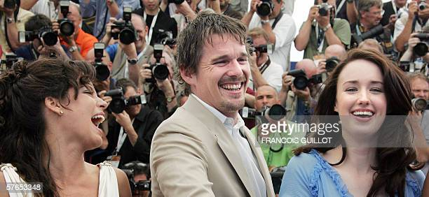Mexican actress Ana Claudia Talancon and US actors Ethan Hawke and Ashley Johnson laugh during a photocall for US director Richard Linklater's film...