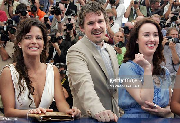Mexican actress Ana Claudia Talancon US actors Ethan Hawke and Ashley Johnson pose during a photocall for US director Richard Linklater's film 'Fast...