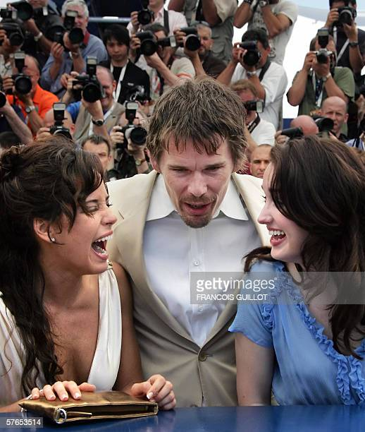 Mexican actress Ana Claudia Talancon US actors Ethan Hawke and Ashley Johnson laugh during a photocall for US director Richard Linklater's film 'Fast...