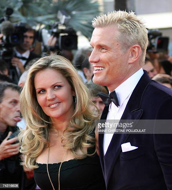 Swedish actor Dolph Lundgren and his wife Anette Qviberg pose 24 May 2007 upon arriving at the Festival Palace in Cannes southern France for the...