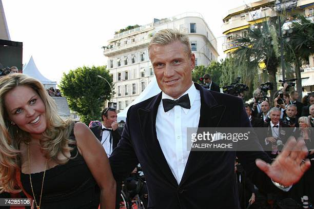 Swedish actor Dolph Lundgren gestures 24 May 2007 upon arriving with his wife Anette Qviberg at the Festival Palace in Cannes southern France for the...
