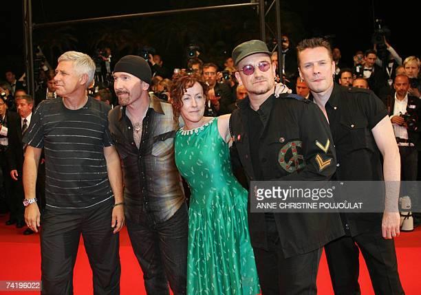 U2 band members British bass player Adam Clayton British guitar player The Edge US director Catherine Owens Irish singer Bono and Irish drummer Larry...