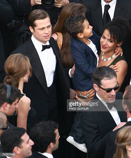 US actor and producer Brad Pitt actress Angelina Jolie and French journalist and writer Mariane Pearl and her son Adam arrive 21 May 2007 at the...