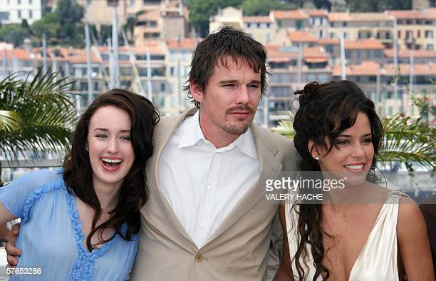 US actors Ashley Johnson and Ethan Hawke pose with Mexican actress Ana Claudia Talancon during a photocall for US director Richard Linklater's film...