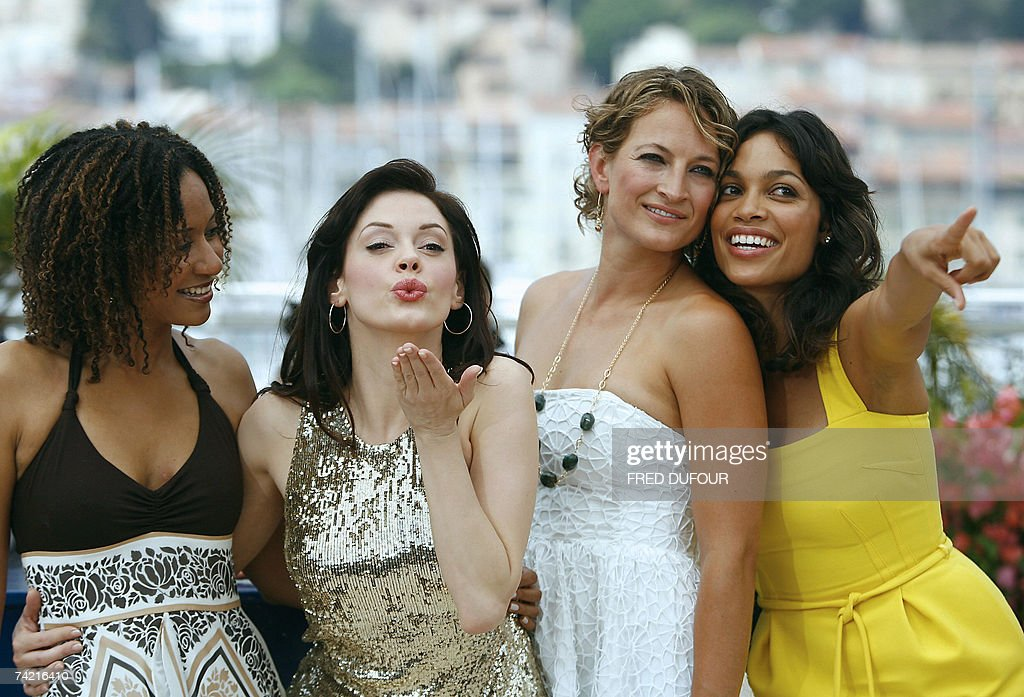 US actresses Tracie Thoms and Rose McGowan, New Zealander actress Zoe Bell and US actress Rosario Dawson pose 22 May 2007 during a photcall for the film 'Death proof' by US director Quentin Tarantino in the Festival Palace in Cannes, southern France, at the 60th edition of the Cannes Film Festival. The film is in competition for the Palme d'Or film prize. A lavish sprinkle of Hollywood stars and veteran film-makers, a dash of arthouse fare and new international discoveries -- the Cannes filmfest celebrates its 60th edition with a tried and true recipe for success.