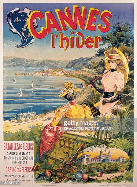 Cannes in Winter advertising poster of Brun France 19th century Paris Musée Des Arts Decoratifs