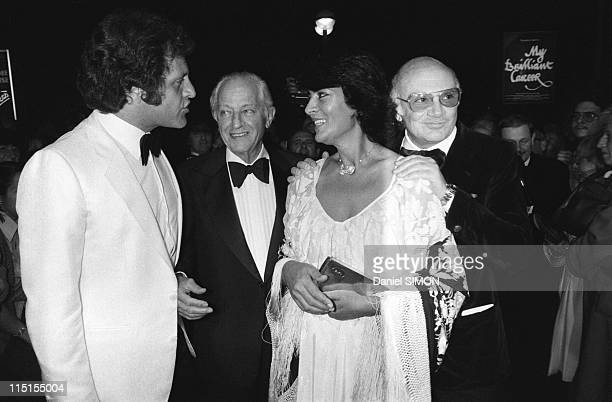 Cannes International Film Festival in France on May 14 1979 From left to right Joe Dassin Jules Dassin Irene Papas and Francesco Rosi