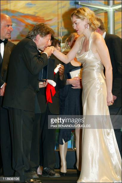 Cannes International Film Festival Prize ceremony In Cannes France On May 26 2002Roman Polanski and Sharon Stone