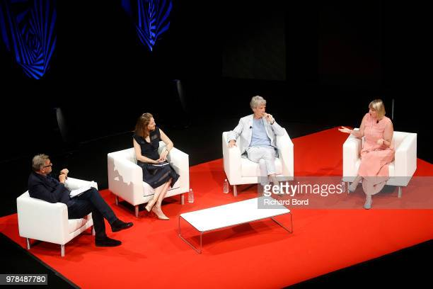 Cannes Lions chairman Terry Savage Her Royal Highness Princess Sarah Zeid of Jordan Sir John Hegarty and Corinne Woods speak during the SAWA session...