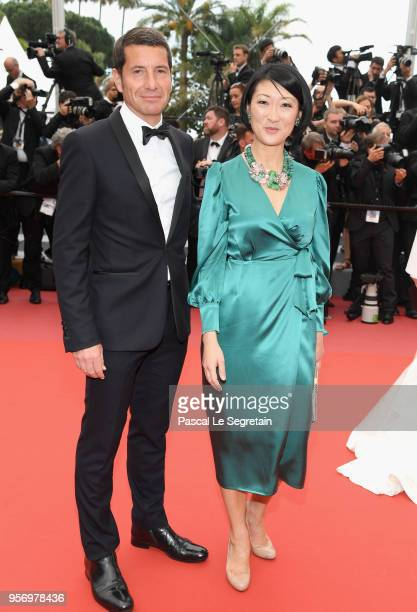 Cannes Mayor David Lisnard and President of Cannesseries former French Culture Minister Fleur Pellerin attend the screening of Sorry Angel during the...