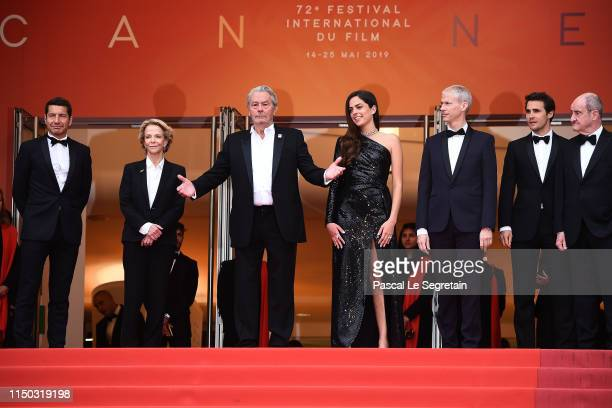 Cannes Mayor David Lisnard, Frederique Bredin, Alain Delon, Anouchka Delon, French Minister of Culture Franck Riester and President of the Cannes...