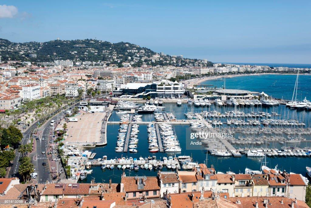 the city, the Old Port and the convention center 'palais des festivals et des congres' viewed from Le Suquet Tower.