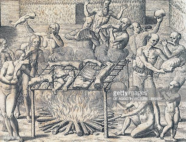 Cannibalism of the tribes in the interior of Brazil engraving from American History by Theodore de Bry Frankfurt 1602 South America 16th century...