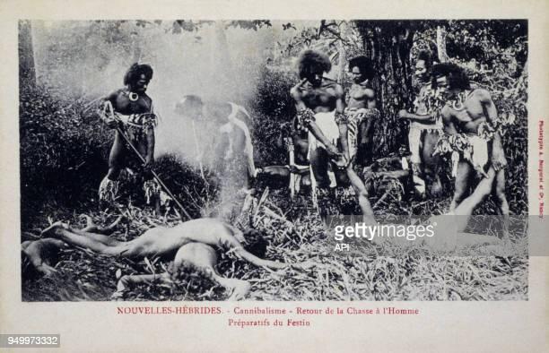 Cannibalisme dans les NouvellesHébrides retour de la chasse à l'Homme vers 1906 Nouvelles Hébrides Vanuatu