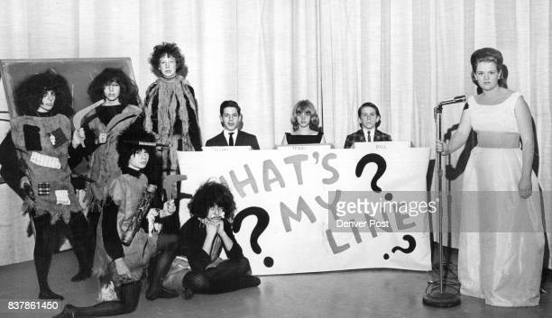 OF WHAT'S MY LINE TALENT SHOW Cannibals at left who will pantomime My Boomerang Won't Come Back are Vicki Heyn and Karen Karl Liz Martinelli Sandy...