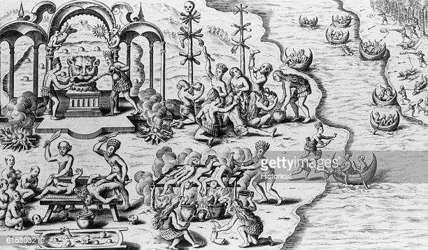 Cannibals in their village prepare and eat human bodies and drag prisoners into the village for later consumption in a fanciful engraving from a work...