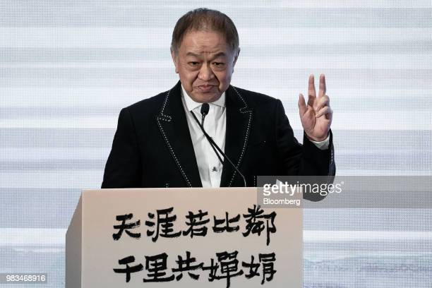 Canning Fok comanaging director of CK Hutchison Holdings Ltd gestures as he speaks during a news conference in Hong Kong China on Monday June 25 2018...