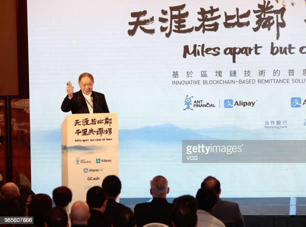 Canning Fok comanaging director of CK Hutchison Holdings Ltd speaks during a news conference on June 25 2018 in Hong Kong China China's Ant Financial...