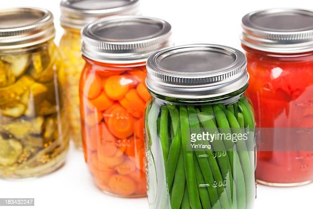Canning Jars Containing Homegrown Vegetables for Preserved, Canned Food Storage