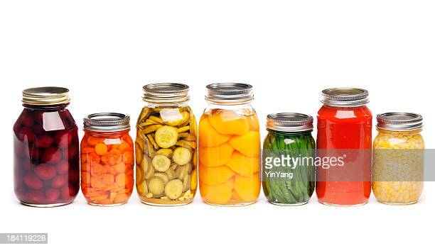 canning jars of canned, pickled vegetable food preserved for storage - canned food stock pictures, royalty-free photos & images