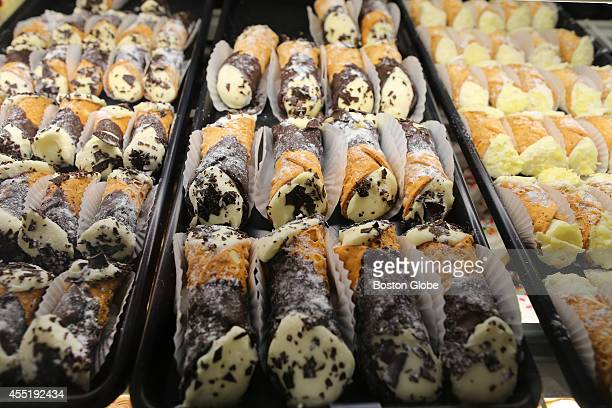 Cannoli's on display at La Luce pastry shop in Dedham Square