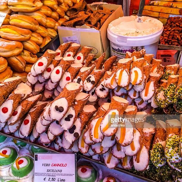 Cannolo Siciliano para la venta en Milán mercado navideño