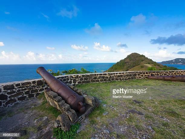 Cannon at Fort Rodney, Pigeon Island, Rodney Bay, Cape Estate, Windward Islands, Lesser Antilles, Saint Lucia
