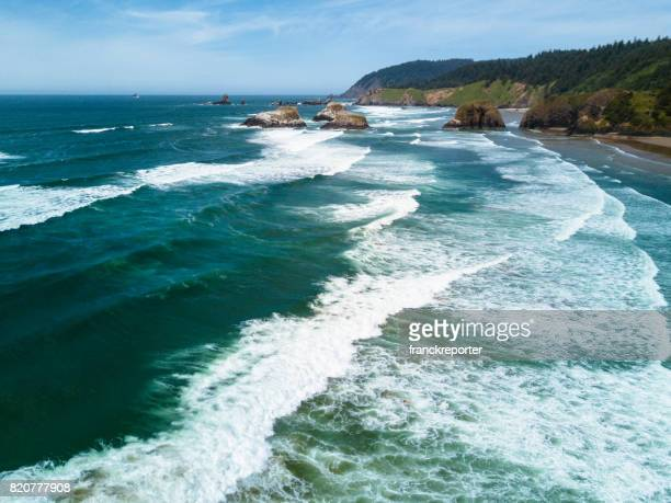 cannon beach aerial view - oregon coast stock pictures, royalty-free photos & images