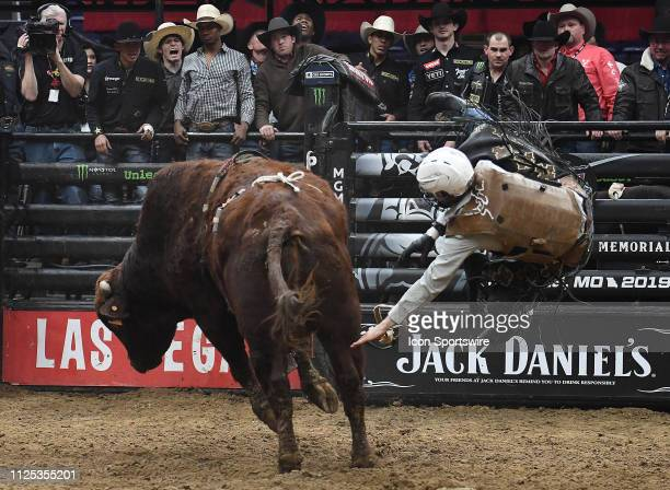 Cannon Cravens is bucked from the bull Bezerk during the final round of the Professional Bullriders Mason Lowe Memorial on February 16 at Enterprise...