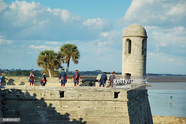 cannon firing demonstration at castillo de san marcos st. augustine - st. augustine florida stock photos and pictures
