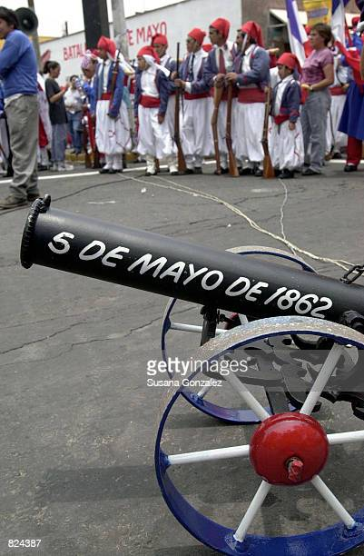 A cannon is painted for the day as Mexicans celebrate Cinco de Mayo with a reenactment of the 1862 battle between the French and the Zacapuaxtlas...