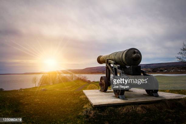 cannon pointing at setting sun. - キャノン ストックフォトと画像