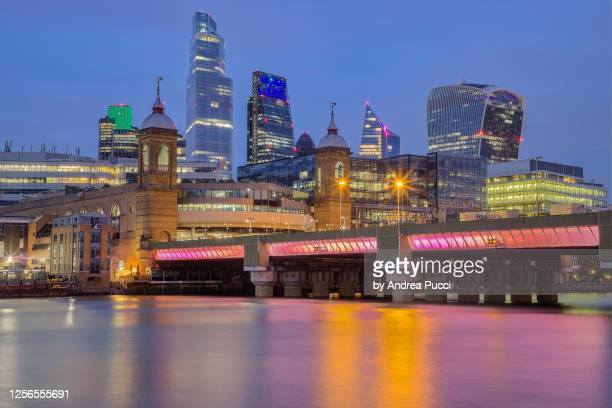 cannon street station and city of london, london, united kingdom - 2018 stock pictures, royalty-free photos & images