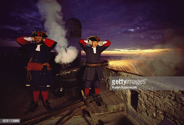 Cannon thunder heralds the dawn at the Castillo de San Marcos National Monument In the late 1600s the citadel protected treasure fleets and guarded...