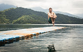 Cannonball into the famous Sun Moon Lake