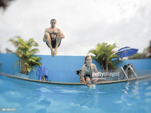 cannonball kid and dad - cannon stock pictures, royalty-free photos & images
