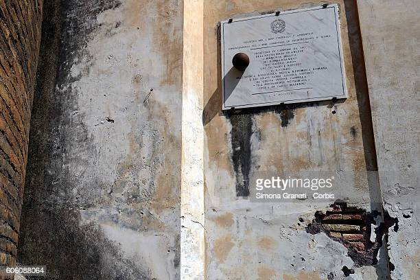 Cannonball stuck in the side facade of the church of San Pietro in Montorio The places and the faces of the Roman Republic in 1849 along the...