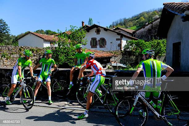 Cannondale Team riders relax before Stage Three of Vuelta Al Pais Vasco from Urdax to VitoriaGasteiz on April 9 2014 in Urdax Spain