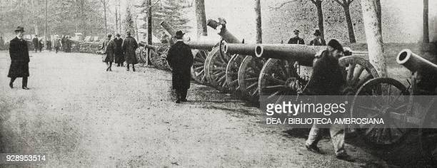 Cannons and mortars used by the enemy during the First World War and exhibited as war trophies at the Sforza Castle in Milan Italy from the magazine...