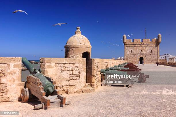 Cannons and Scala du port tower at the walls of Essaouira