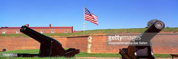 """""""cannons and wall at fort mchenry national monument, baltimore, maryland"""" - fort mchenry stock photos and pictures"""