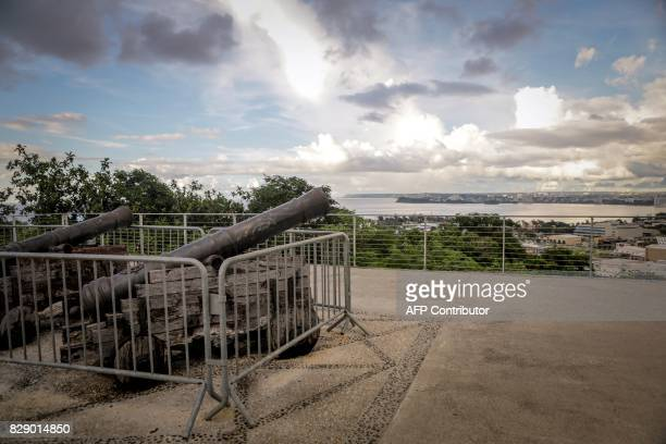Cannons are pictured at Fort Santa Agueda the only surviving Spanish fort situated atop Apugan Hill within the capital city of Hagatna on the island...
