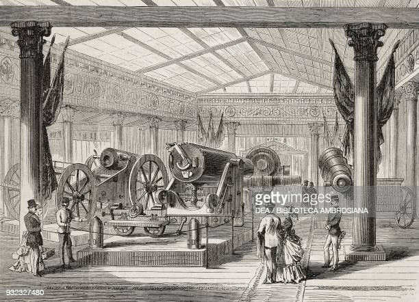Cannons in the Russian Pavilion Vienna Universal Exhibition Austria illustration from Album della Esposizione Universale di Vienna No 15 1873