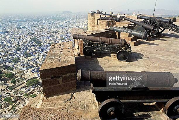 Cannons on Jodhpur Fort which is the most formidable and magnificent fort in Rajasthan and a great tourist destination Jodhpur Rajasthan India