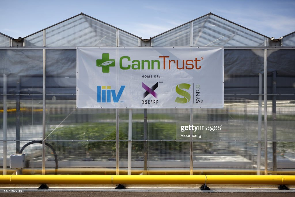 CannTrust Holding Inc. signage is displayed outside the Niagara Perpetual Harvest facility in Pelham, Ontario, Canada, on Wednesday, July 11, 2018. Canadian pot stocks have had a wild ride in the past year with the BI Canada Cannabis Competitive Peers Index surging about 250 percent from October to December as the road to legalization became clearer in Canada, before dropping by about 36 percent this year. Photographer: Cole Burston/Bloomberg via Getty Images