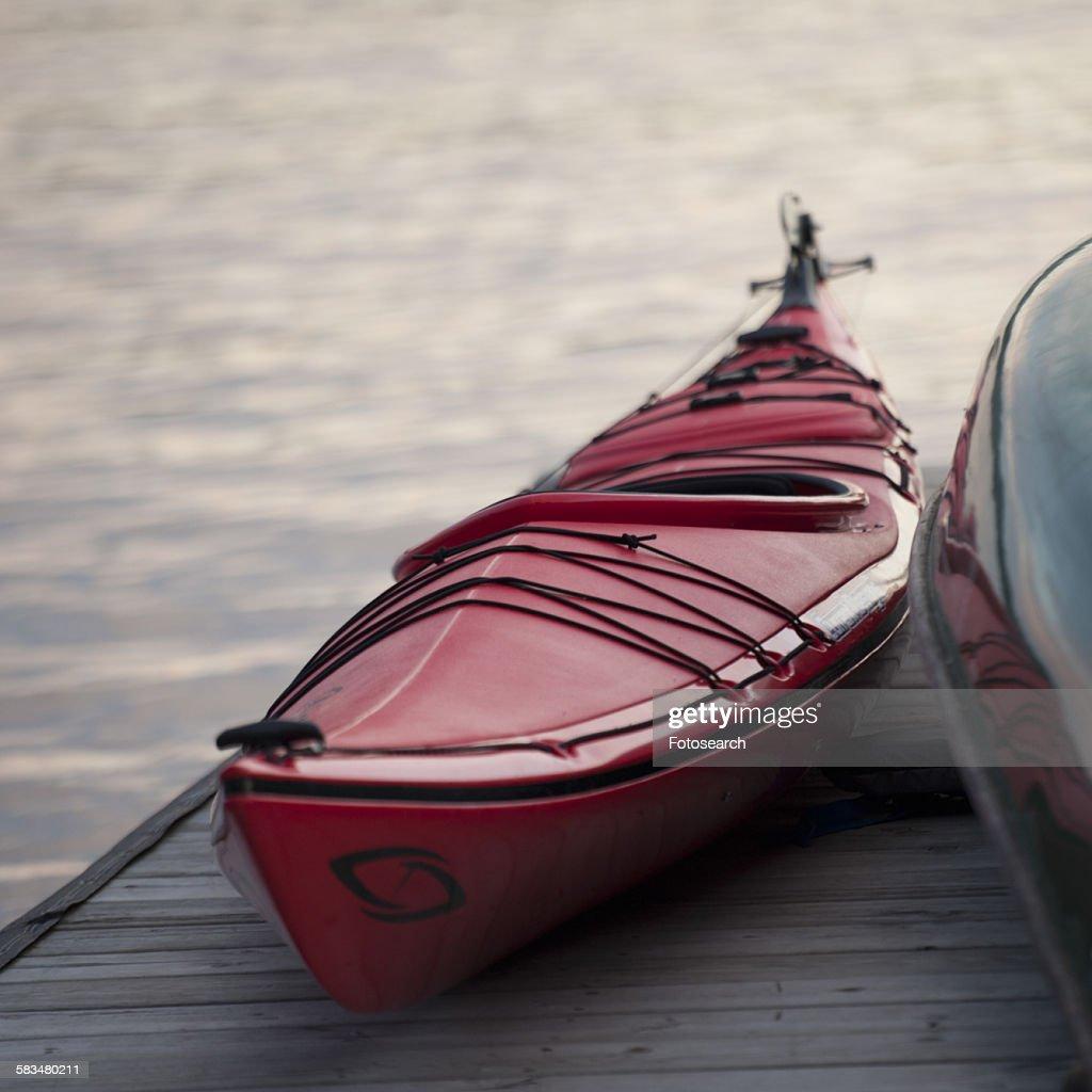 Canoe at a dock : Stock Photo
