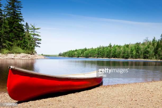 Canoe on lake shore