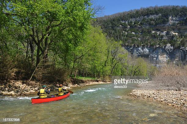 canoe on the buffalo river - arkansas stock photos and pictures