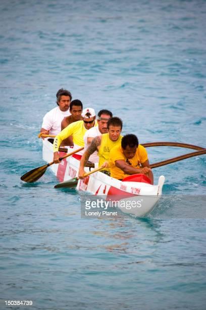 Canoe paddling at Kamekahonu Beach, Kailua Kona.