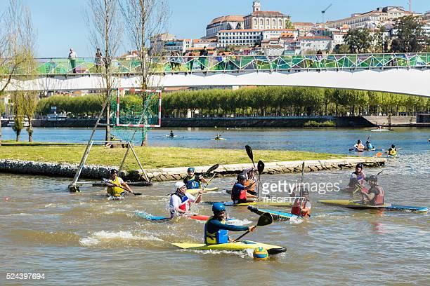Canoe Polo game in Coimbra Mondego River